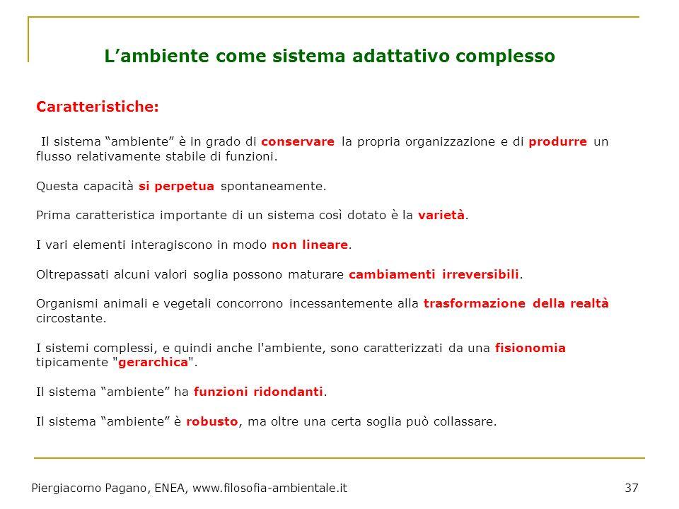 Piergiacomo Pagano, ENEA, www.filosofia-ambientale.it 37 Caratteristiche: Il sistema ambiente è in grado di conservare la propria organizzazione e di
