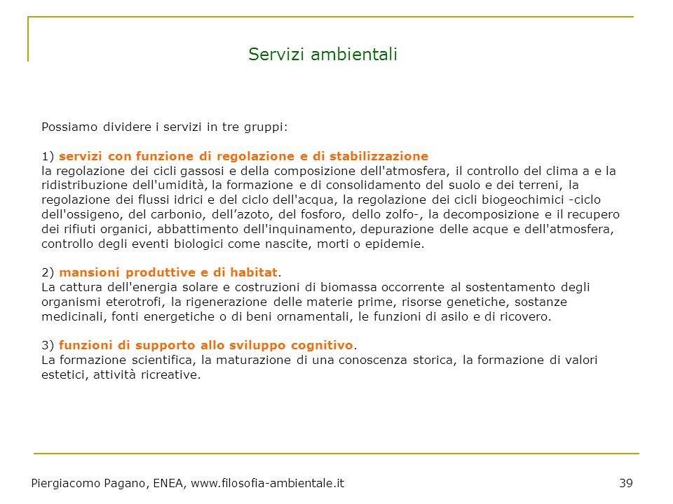 Piergiacomo Pagano, ENEA, www.filosofia-ambientale.it 39 Possiamo dividere i servizi in tre gruppi: 1) servizi con funzione di regolazione e di stabil