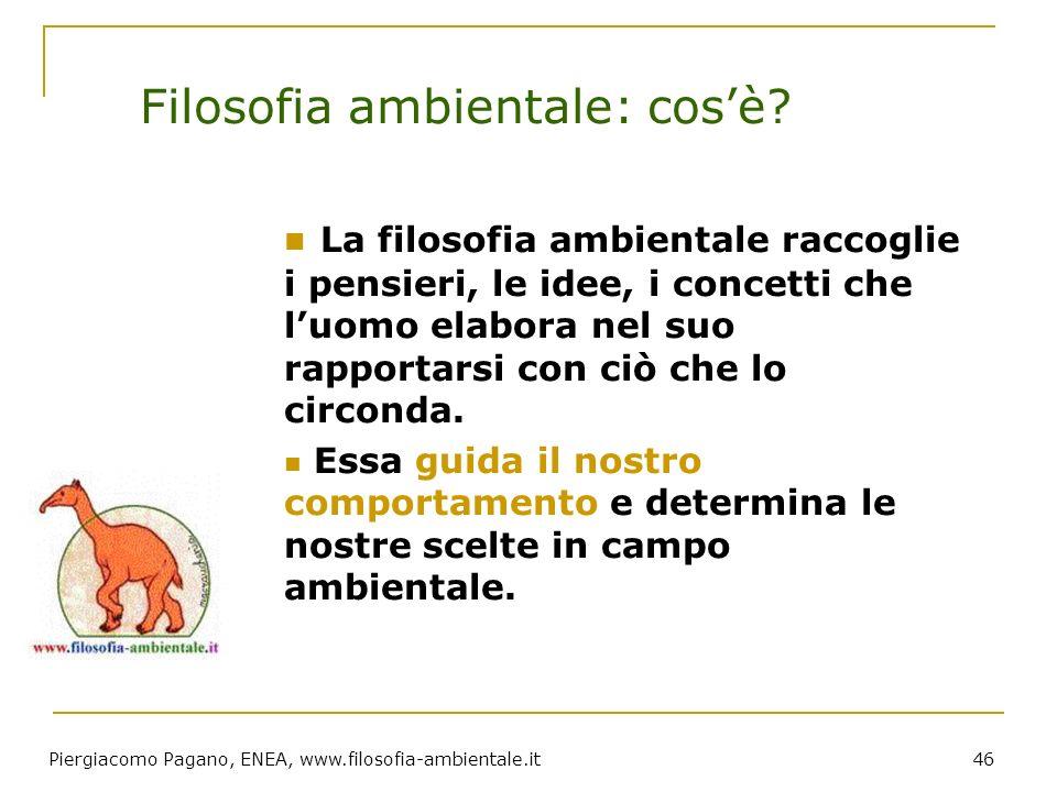 Piergiacomo Pagano, ENEA, www.filosofia-ambientale.it 46 Filosofia ambientale: cosè? La filosofia ambientale raccoglie i pensieri, le idee, i concetti