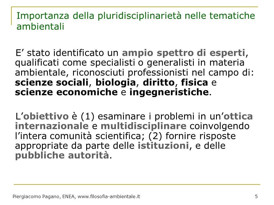 Piergiacomo Pagano, ENEA, www.filosofia-ambientale.it 5 Importanza della pluridisciplinarietà nelle tematiche ambientali E stato identificato un ampio