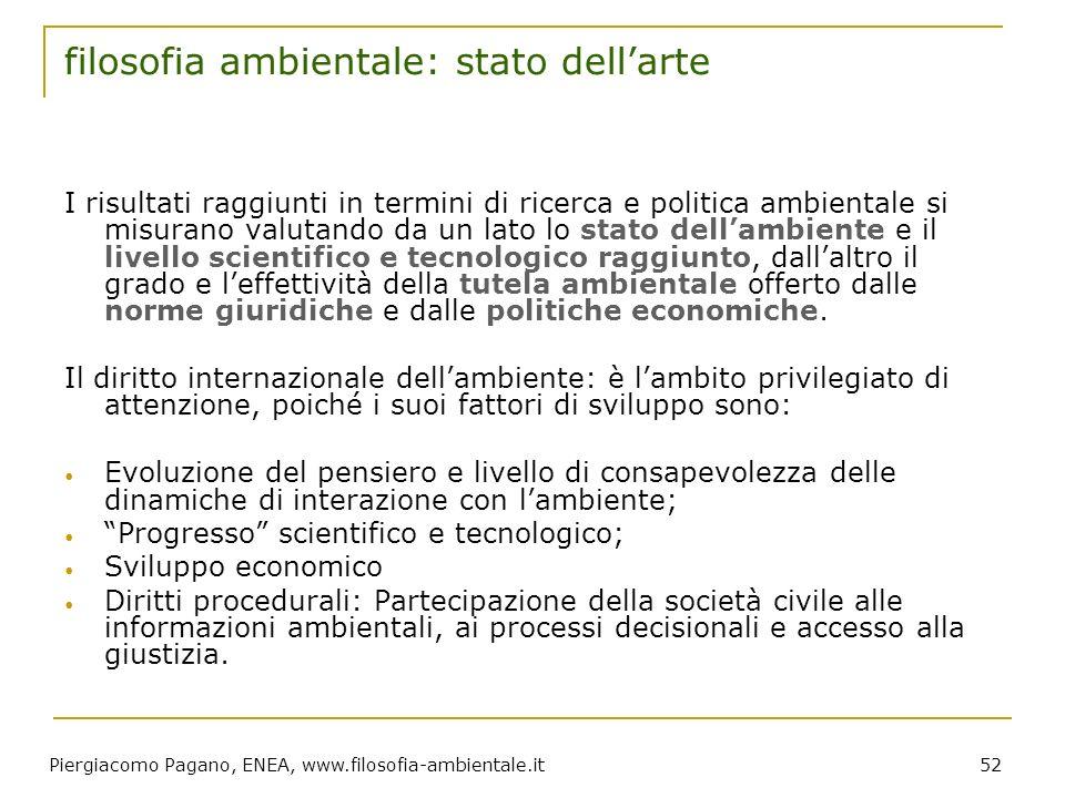 Piergiacomo Pagano, ENEA, www.filosofia-ambientale.it 52 filosofia ambientale: stato dellarte I risultati raggiunti in termini di ricerca e politica a