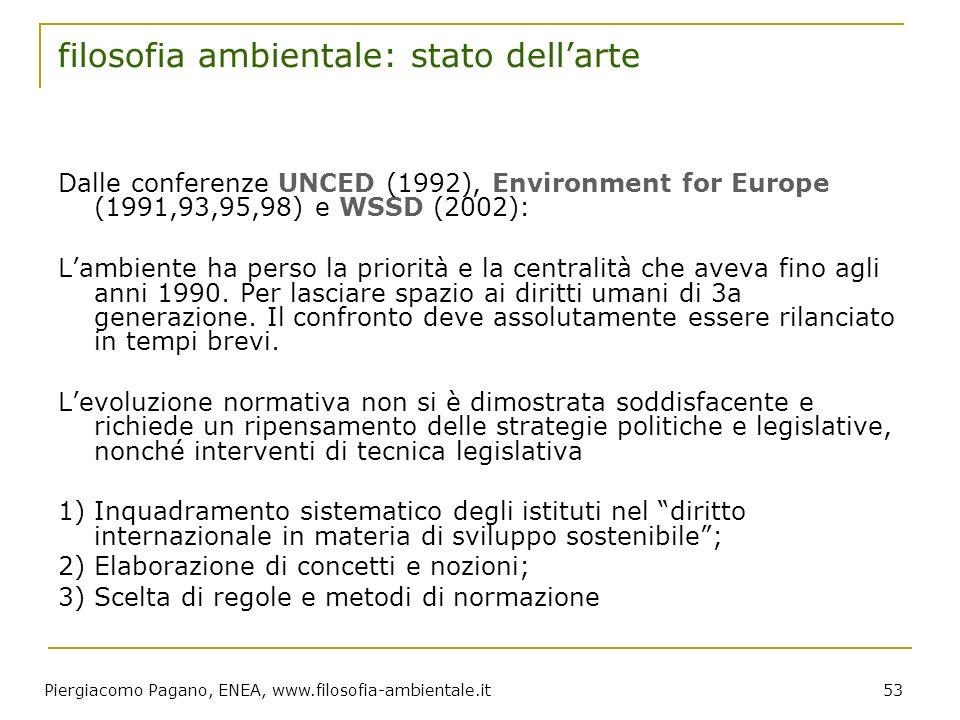 Piergiacomo Pagano, ENEA, www.filosofia-ambientale.it 53 filosofia ambientale: stato dellarte Dalle conferenze UNCED (1992), Environment for Europe (1