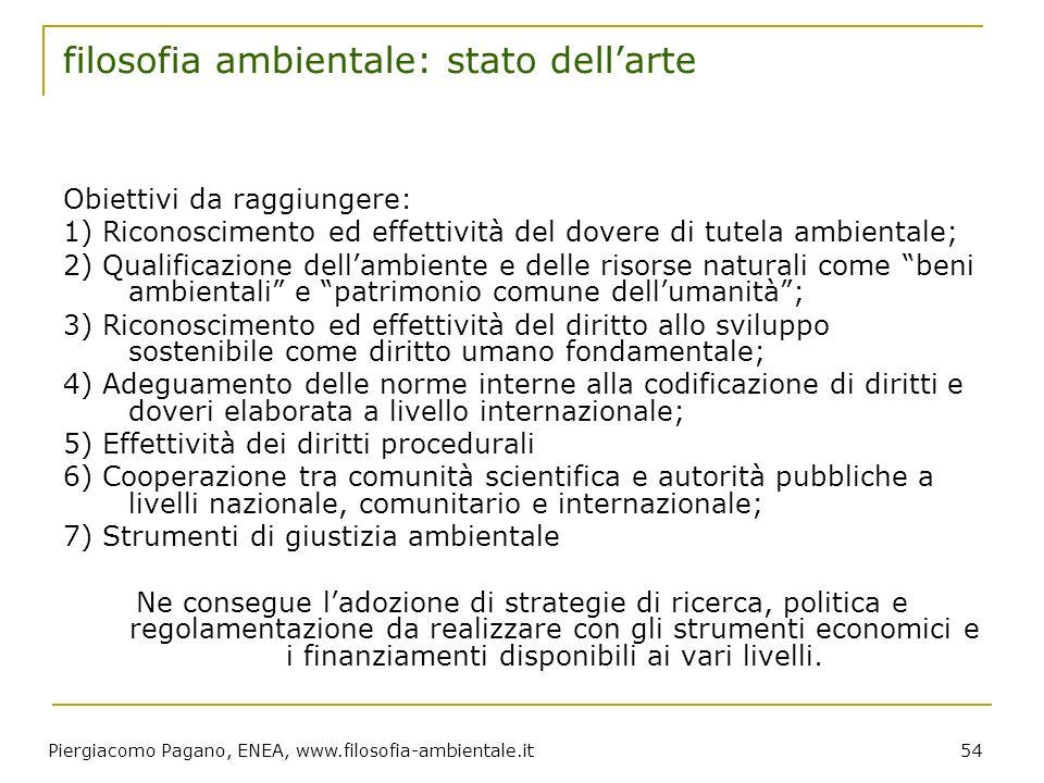 Piergiacomo Pagano, ENEA, www.filosofia-ambientale.it 54 filosofia ambientale: stato dellarte Obiettivi da raggiungere: 1) Riconoscimento ed effettivi