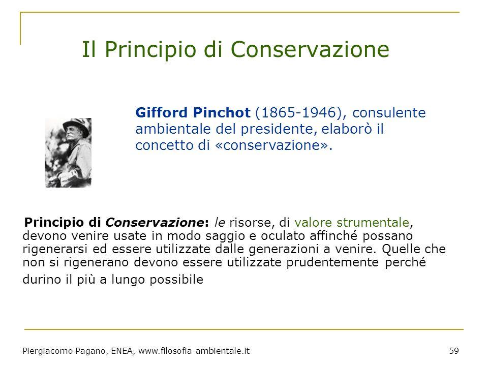 Piergiacomo Pagano, ENEA, www.filosofia-ambientale.it 59 Il Principio di Conservazione Principio di Conservazione: le risorse, di valore strumentale,