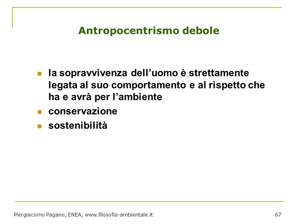 Piergiacomo Pagano, ENEA, www.filosofia-ambientale.it 67 Antropocentrismo debole la sopravvivenza delluomo è strettamente legata al suo comportamento
