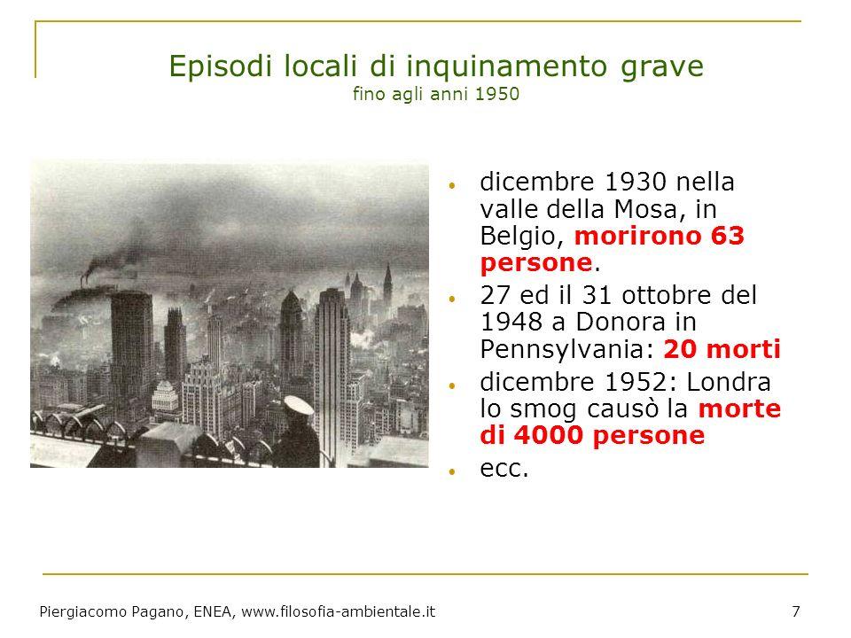 Piergiacomo Pagano, ENEA, www.filosofia-ambientale.it 7 Episodi locali di inquinamento grave fino agli anni 1950 dicembre 1930 nella valle della Mosa,