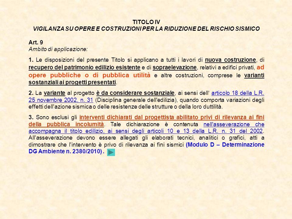 TITOLO IV VIGILANZA SU OPERE E COSTRUZIONI PER LA RIDUZIONE DEL RISCHIO SISMICO Art. 9 Ambito di applicazione: 1. Le disposizioni del presente Titolo