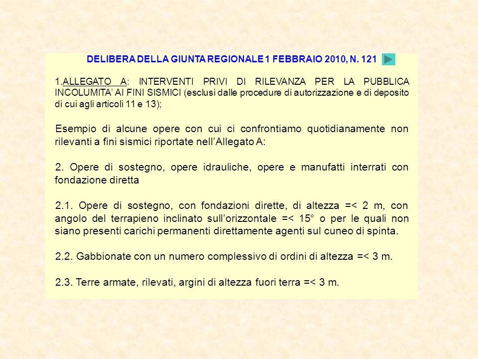 DELIBERA DELLA GIUNTA REGIONALE 1 FEBBRAIO 2010, N. 121 1.ALLEGATO A: INTERVENTI PRIVI DI RILEVANZA PER LA PUBBLICA INCOLUMITA AI FINI SISMICI (esclus