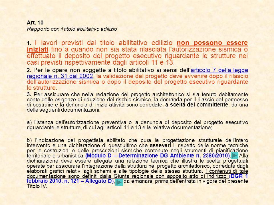 Art. 10 Rapporto con il titolo abilitativo edilizio 1. I lavori previsti dal titolo abilitativo edilizio non possono essere iniziati fino a quando non