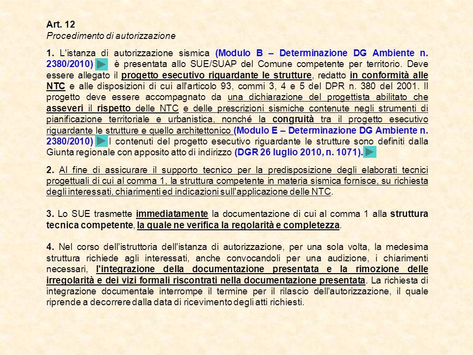 Art. 12 Procedimento di autorizzazione 1. L'istanza di autorizzazione sismica (Modulo B – Determinazione DG Ambiente n. 2380/2010) è presentata allo S