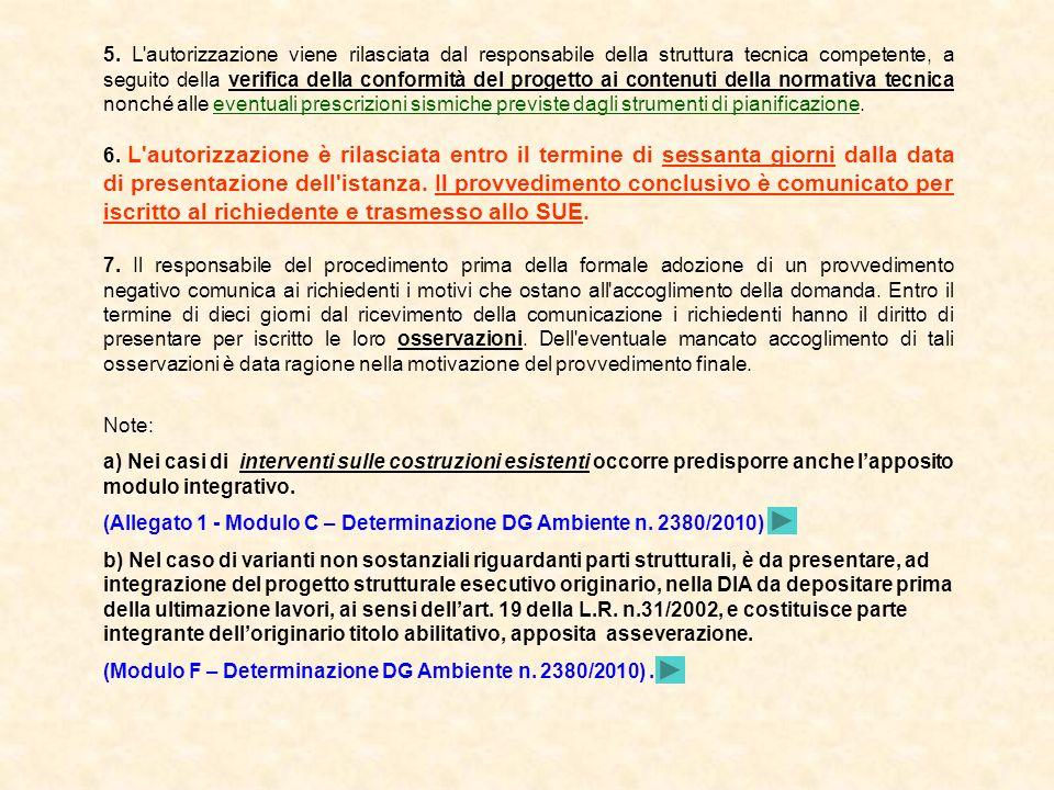 5. L'autorizzazione viene rilasciata dal responsabile della struttura tecnica competente, a seguito della verifica della conformità del progetto ai co