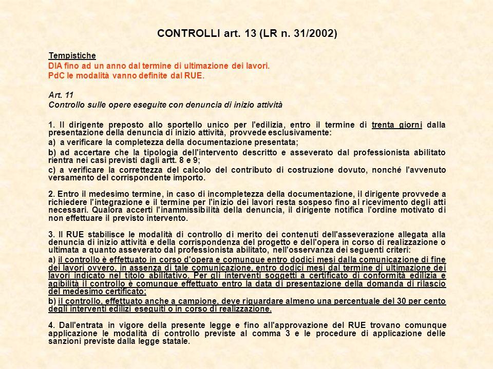 CONTROLLI art. 13 (LR n. 31/2002) Tempistiche DIA fino ad un anno dal termine di ultimazione dei lavori. PdC le modalità vanno definite dal RUE. Art.