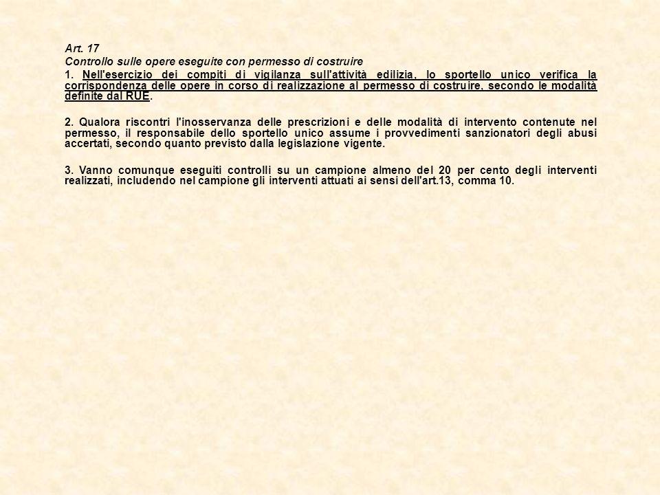 Art. 17 Controllo sulle opere eseguite con permesso di costruire 1. Nell'esercizio dei compiti di vigilanza sull'attività edilizia, lo sportello unico
