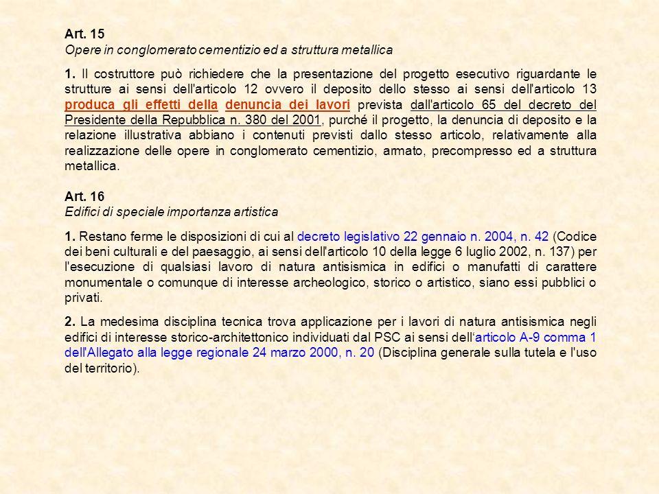 Art. 15 Opere in conglomerato cementizio ed a struttura metallica 1. Il costruttore può richiedere che la presentazione del progetto esecutivo riguard