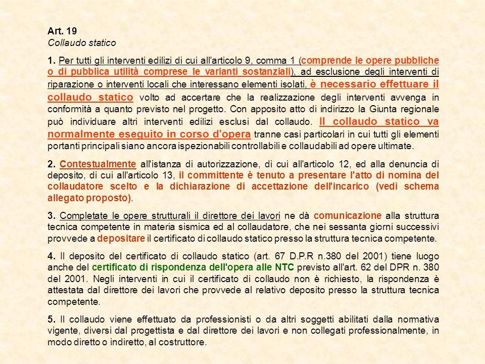 Art. 19 Collaudo statico 1. Per tutti gli interventi edilizi di cui all'articolo 9, comma 1 (comprende le opere pubbliche o di pubblica utilità compre