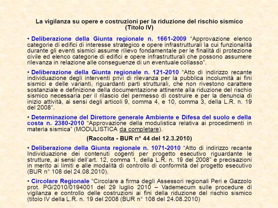 La vigilanza su opere e costruzioni per la riduzione del rischio sismico (Titolo IV) Deliberazione della Giunta regionale n. 1661-2009 Approvazione el