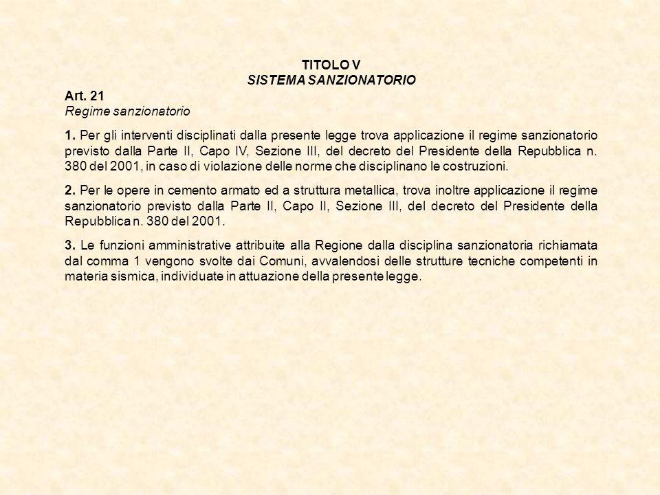 TITOLO V SISTEMA SANZIONATORIO Art. 21 Regime sanzionatorio 1. Per gli interventi disciplinati dalla presente legge trova applicazione il regime sanzi
