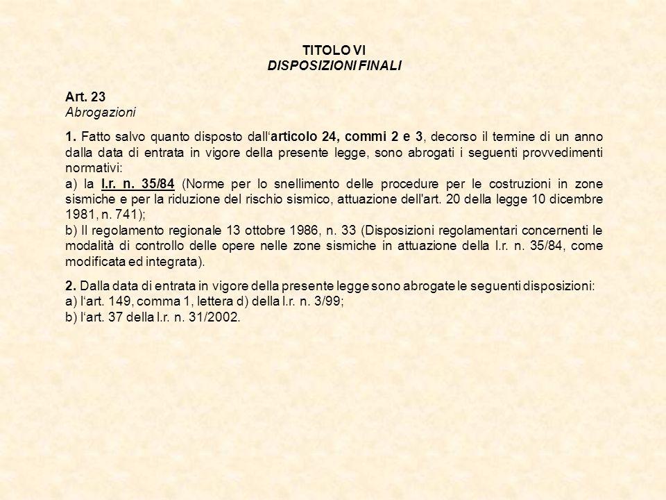TITOLO VI DISPOSIZIONI FINALI Art. 23 Abrogazioni 1. Fatto salvo quanto disposto dallarticolo 24, commi 2 e 3, decorso il termine di un anno dalla dat