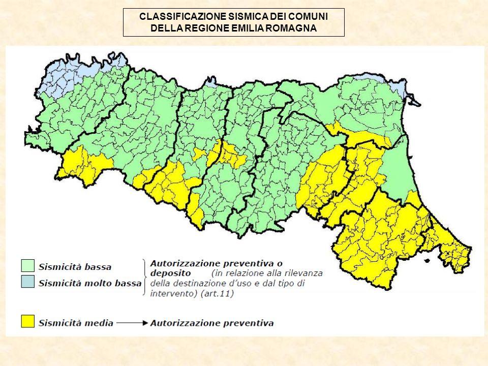 CLASSIFICAZIONE SISMICA DEI COMUNI DELLA REGIONE EMILIA ROMAGNA