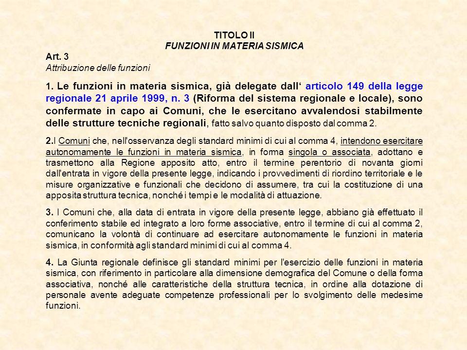 TITOLO II FUNZIONI IN MATERIA SISMICA Art. 3 Attribuzione delle funzioni 1. Le funzioni in materia sismica, già delegate dall articolo 149 della legge