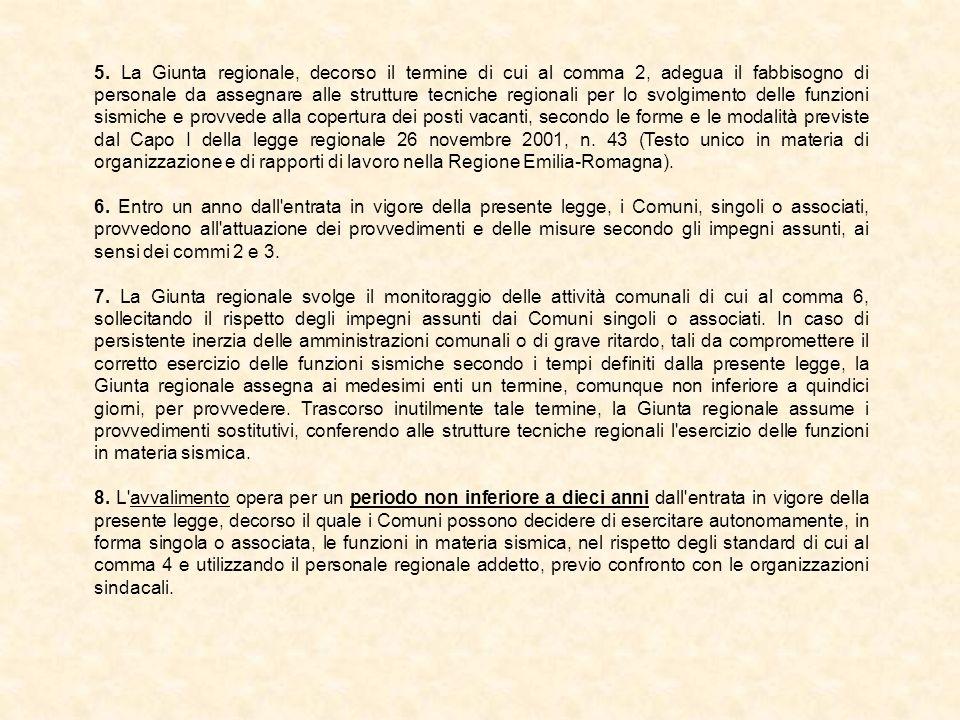 La vigilanza su opere e costruzioni per la riduzione del rischio sismico (Titolo IV) Deliberazione della Giunta regionale n.