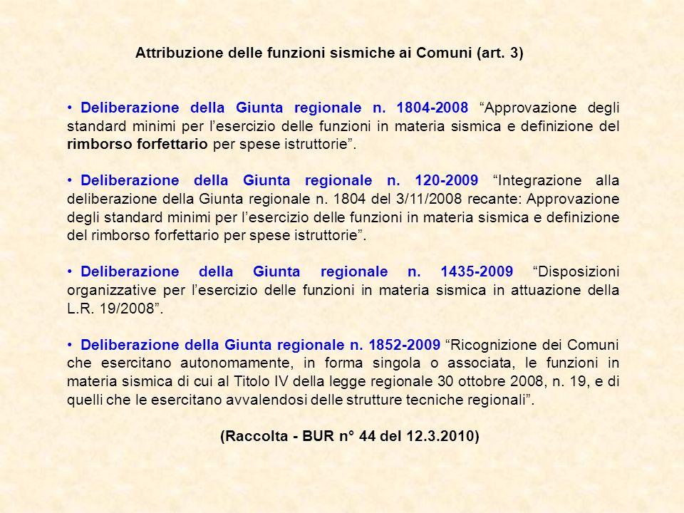 Attribuzione delle funzioni sismiche ai Comuni (art. 3) Deliberazione della Giunta regionale n. 1804-2008 Approvazione degli standard minimi per leser