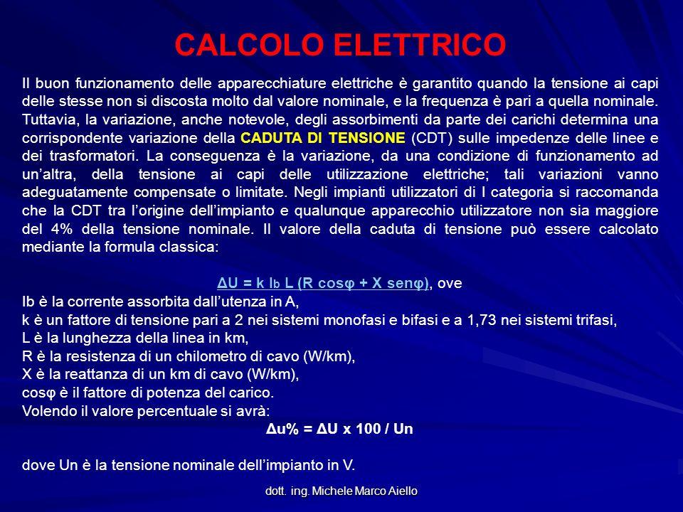 dott. ing. Michele Marco Aiello CALCOLO ELETTRICO Il buon funzionamento delle apparecchiature elettriche è garantito quando la tensione ai capi delle