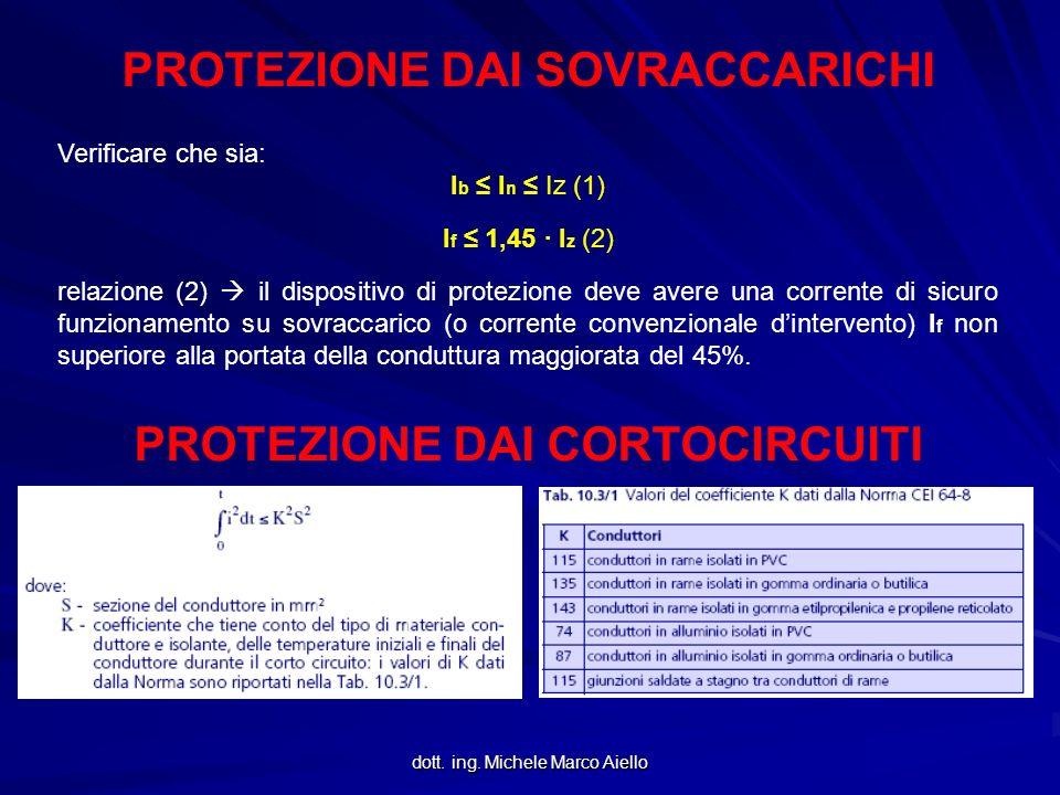 dott. ing. Michele Marco Aiello PROTEZIONE DAI SOVRACCARICHI Verificare che sia: I b I n Iz (1) I f 1,45 · I z (2) relazione (2) il dispositivo di pro