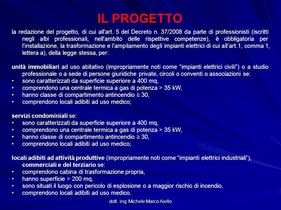 dott. ing. Michele Marco Aiello IL PROGETTO la redazione del progetto, di cui all'art. 5 del Decreto n. 37/2008 da parte di professionisti (iscritti n