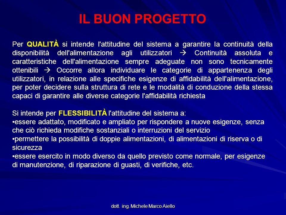 dott. ing. Michele Marco Aiello IL BUON PROGETTO Per QUALITÀ si intende l'attitudine del sistema a garantire la continuità della disponibilità dell'al