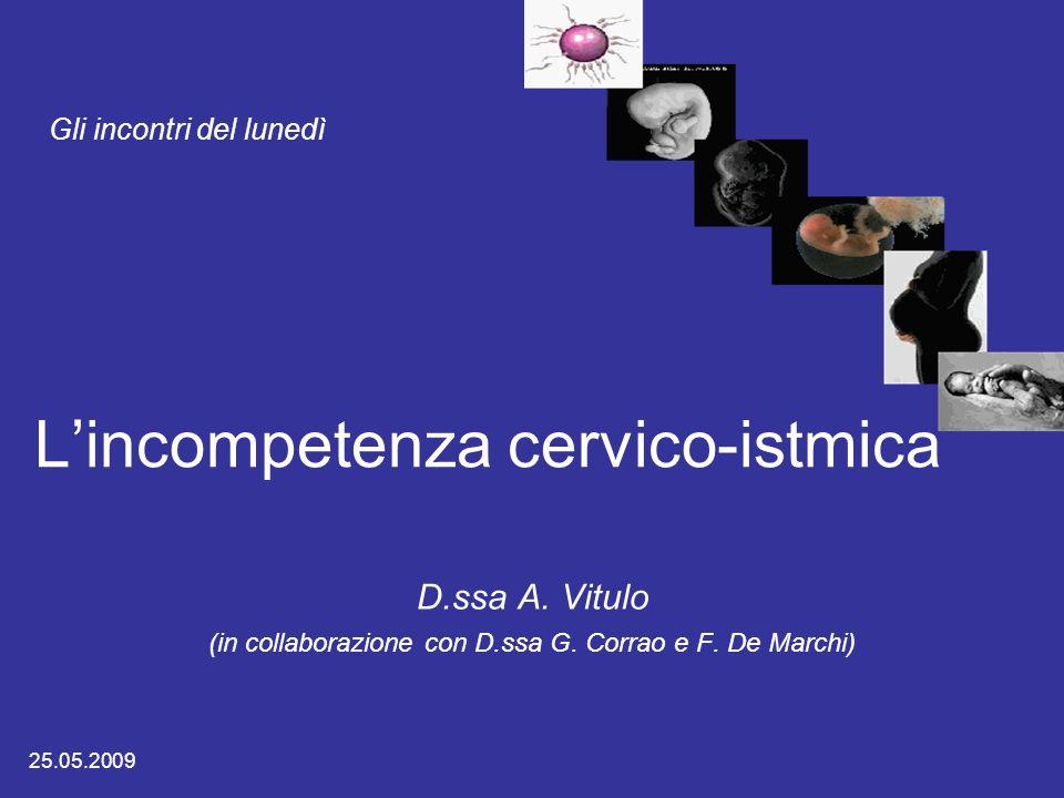Lincompetenza cervico-istmica D.ssa A. Vitulo (in collaborazione con D.ssa G. Corrao e F. De Marchi) Gli incontri del lunedì 25.05.2009