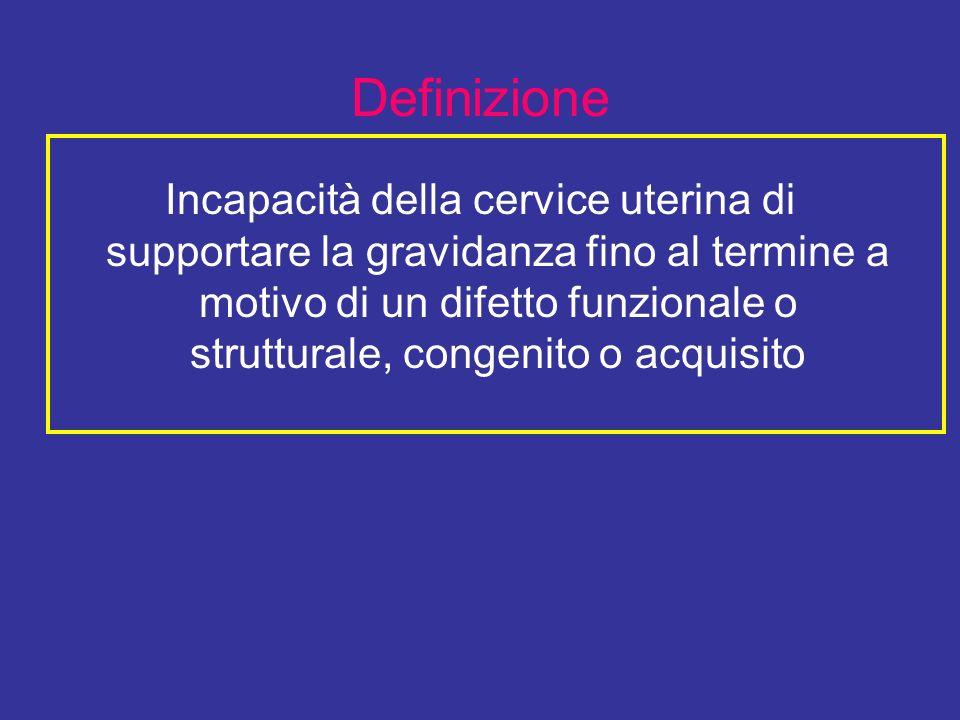 Definizione Incapacità della cervice uterina di supportare la gravidanza fino al termine a motivo di un difetto funzionale o strutturale, congenito o