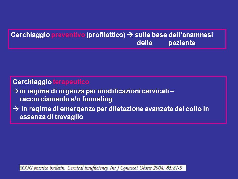 Cerchiaggio terapeutico in regime di urgenza per modificazioni cervicali – raccorciamento e/o funneling in regime di emergenza per dilatazione avanzat