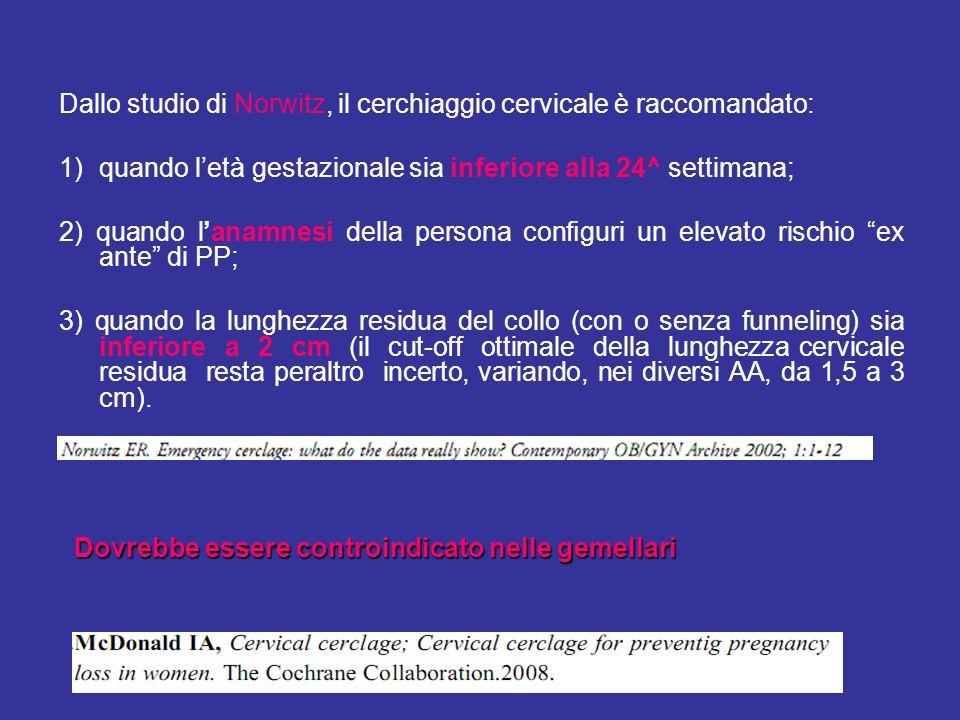 Dallo studio di Norwitz, il cerchiaggio cervicale è raccomandato: 1)quando letà gestazionale sia inferiore alla 24^ settimana; 2) quando lanamnesi del