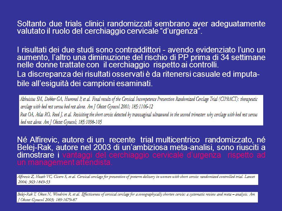 Soltanto due trials clinici randomizzati sembrano aver adeguatamente valutato il ruolo del cerchiaggio cervicale durgenza. I risultati dei due studi s