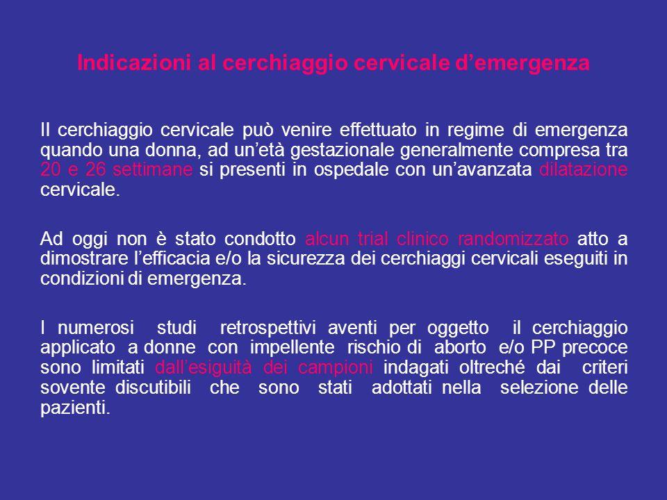 Il cerchiaggio cervicale può venire effettuato in regime di emergenza quando una donna, ad unetà gestazionale generalmente compresa tra 20 e 26 settim