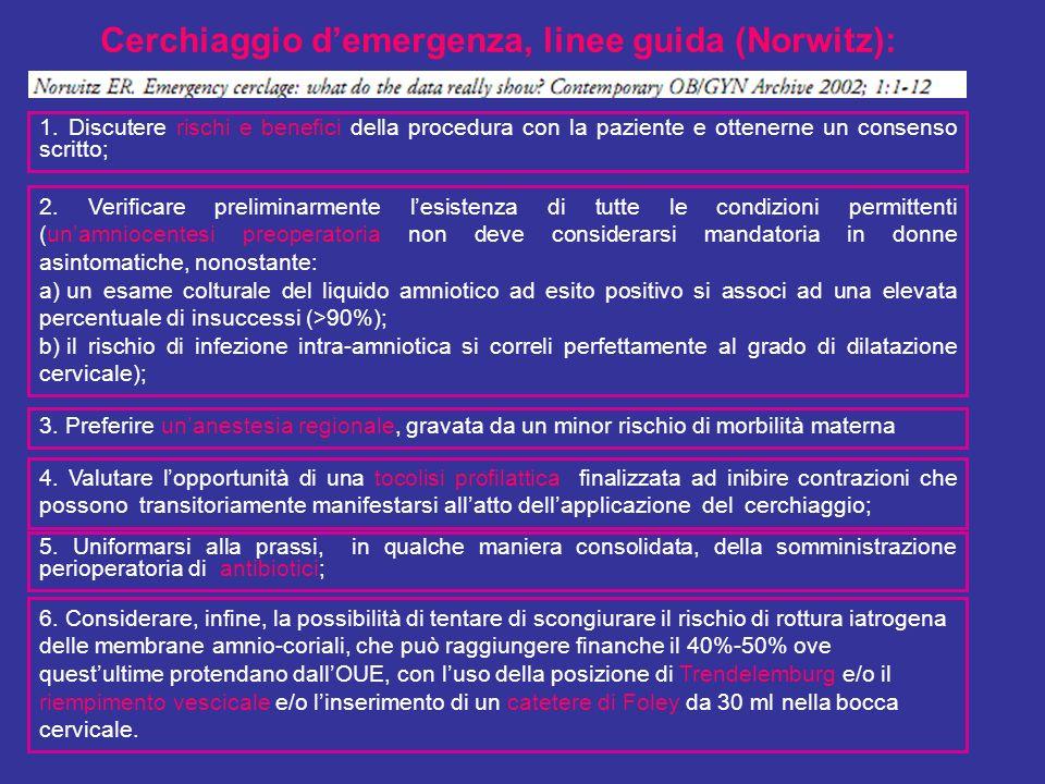 Cerchiaggio demergenza, linee guida (Norwitz): 1. Discutere rischi e beneci della procedura con la paziente e ottenerne un consenso scritto; 2. Verica