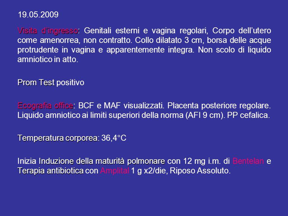Esami eseguiti in gravidanza dalla paziente: OGCT del 06.05.09: nella norma TV del 22.04.09: Positivo per Ureaplasma Urealyticum > 10.000 colonie (Terapia con Iosalide 1x2 cpr/die per 9 giorni).