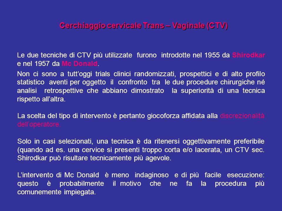Le due tecniche di CTV più utilizzate furono introdotte nel 1955 da Shirodkar e nel 1957 da Mc Donald. Non ci sono a tuttoggi trials clinici randomizz