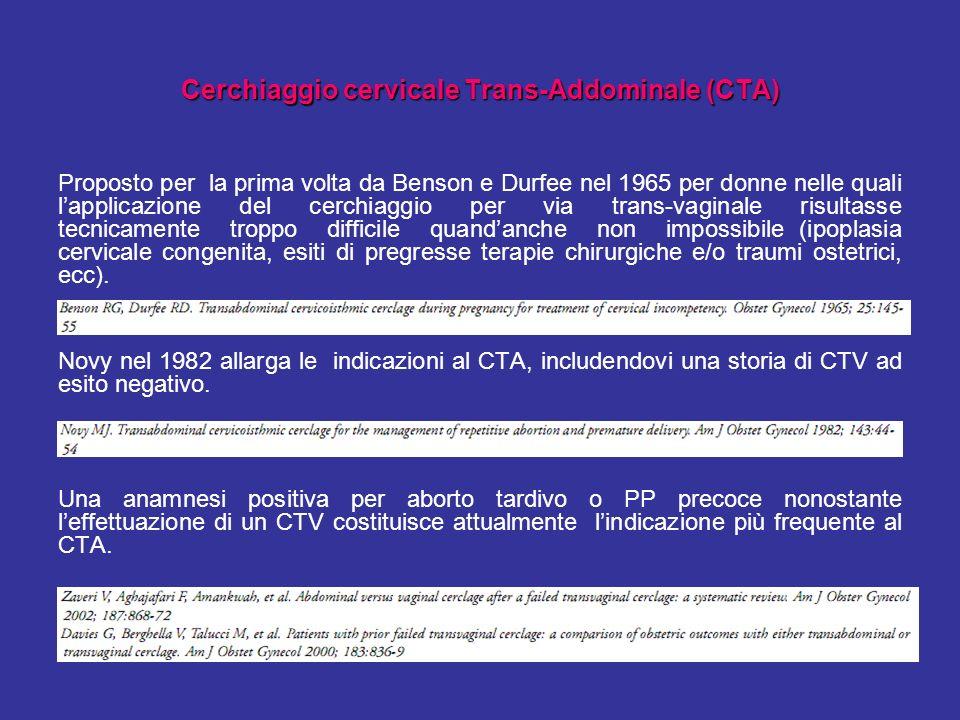 Cerchiaggio cervicale Trans-Addominale (CTA) Proposto per la prima volta da Benson e Durfee nel 1965 per donne nelle quali lapplicazione del cerchiagg