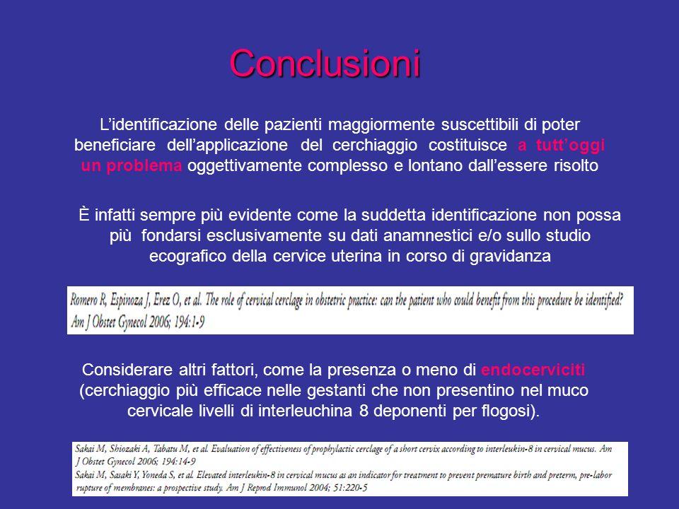 Conclusioni Considerare altri fattori, come la presenza o meno di endocerviciti (cerchiaggio più efficace nelle gestanti che non presentino nel muco c