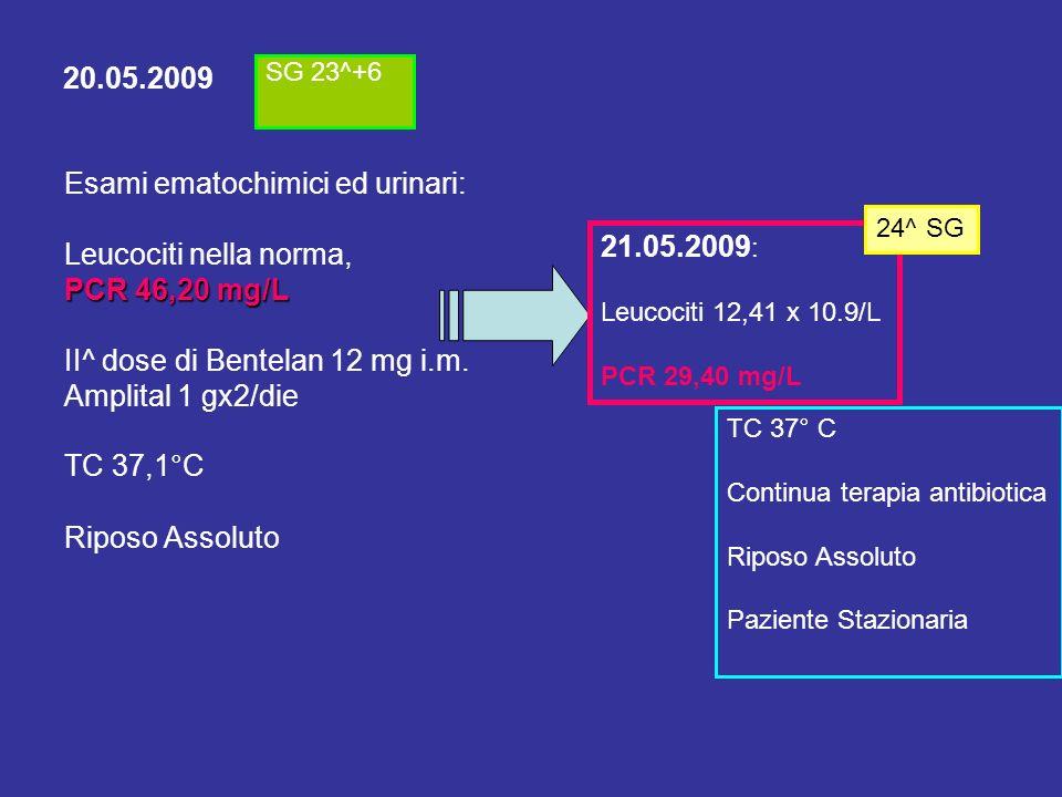 22.05.2009 Ecografia ostetrica eseguita per controllo biometria a 24^+1 s.g.: DBP 60 mm (24+4) CC 219,4 mm (24) CA 193,2 mm (24) OM 41,7 mm (25+1) FM 42,8 mm (24) Placenta posteriore Liquido amniotico regolare PP podalica Buon tono fetale Clinica: Apiretica, stazionaria, nega contrazioni o perdite di liquido.