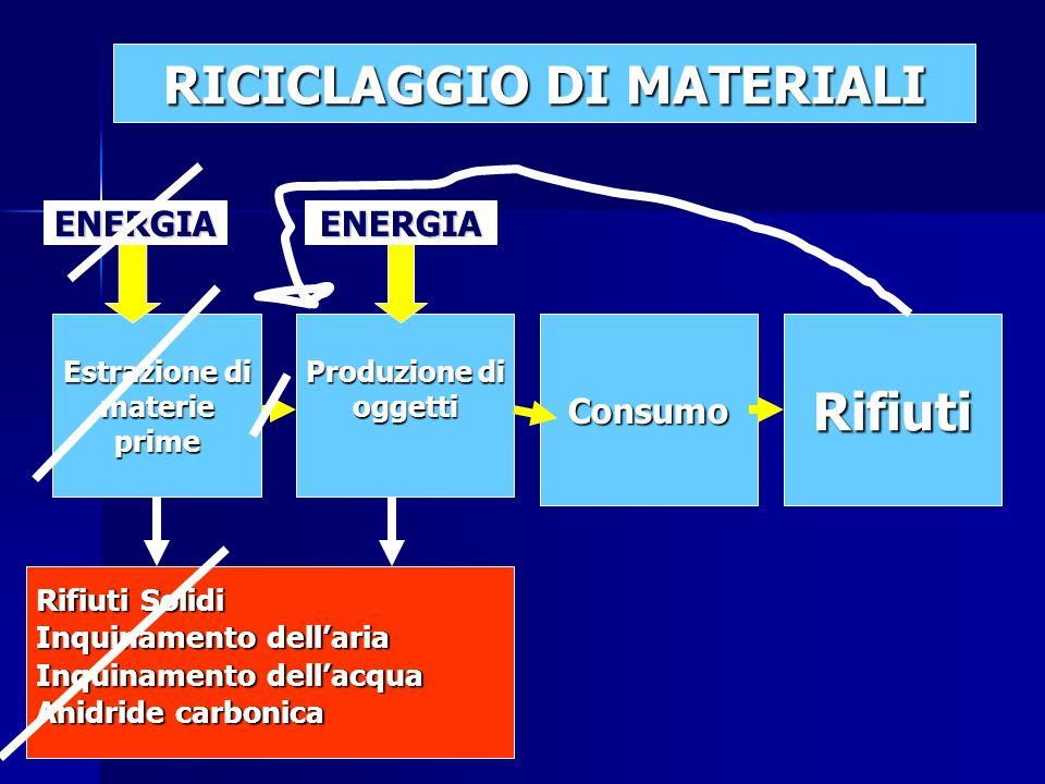 Estrazione di materieprime Produzione di oggettiConsumoRifiuti Rifiuti Solidi Inquinamento dellaria Inquinamento dellacqua Anidride carbonica ENERGIAENERGIA RICICLAGGIO DI MATERIALI