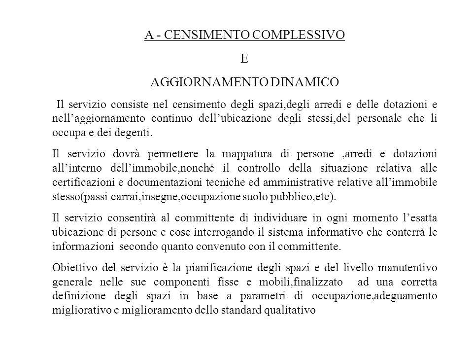 A - CENSIMENTO COMPLESSIVO E AGGIORNAMENTO DINAMICO Il servizio consiste nel censimento degli spazi,degli arredi e delle dotazioni e nellaggiornamento
