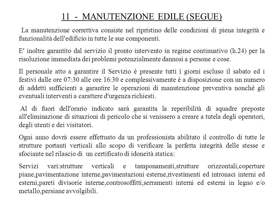 11 - MANUTENZIONE EDILE (SEGUE) La manutenzione correttiva consiste nel ripristino delle condizioni di piena integrità e funzionalità dell'edificio in