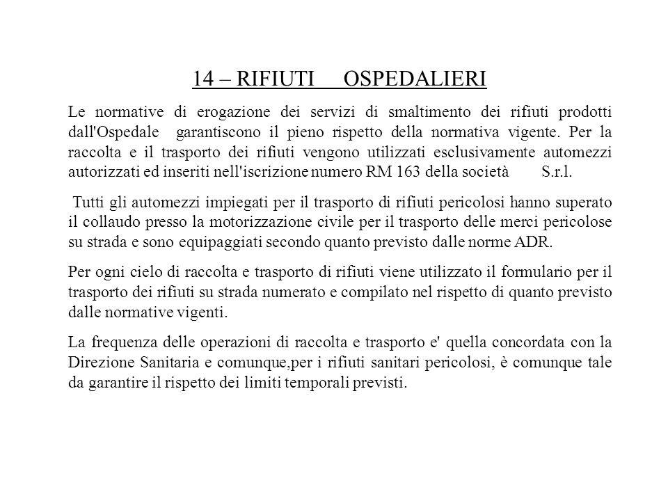 14 – RIFIUTI OSPEDALIERI Le normative di erogazione dei servizi di smaltimento dei rifiuti prodotti dall'Ospedale garantiscono il pieno rispetto della