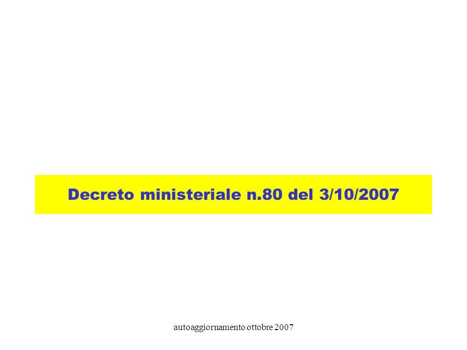autoaggiornamento ottobre 2007 Decreto ministeriale n.80 del 3/10/2007