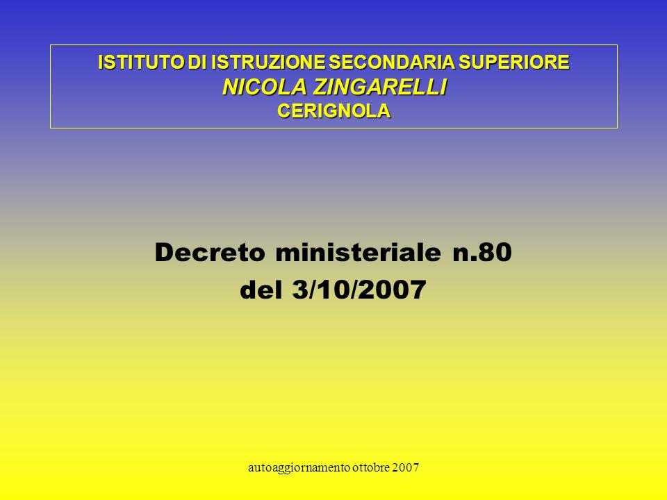 autoaggiornamento ottobre 2007 ISTITUTO DI ISTRUZIONE SECONDARIA SUPERIORE NICOLA ZINGARELLI CERIGNOLA Decreto ministeriale n.80 del 3/10/2007