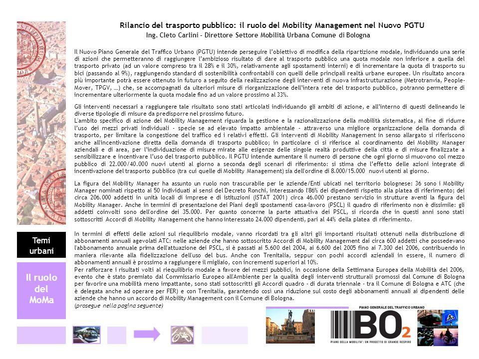 Il ruolo del MoMa Rilancio del trasporto pubblico: il ruolo del Mobility Management nel Nuovo PGTU Ing. Cleto Carlini – Direttore Settore Mobilità Urb