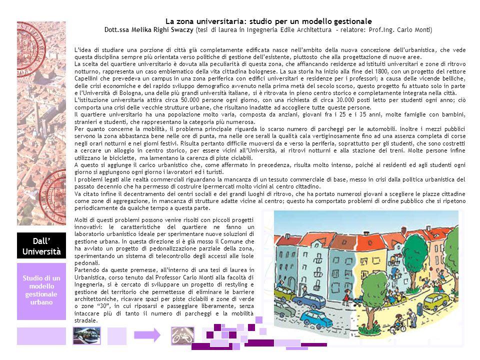 La zona universitaria: studio per un modello gestionale Dott.ssa Melika Righi Swaczy (tesi di laurea in Ingegneria Edile Architettura – relatore: Prof
